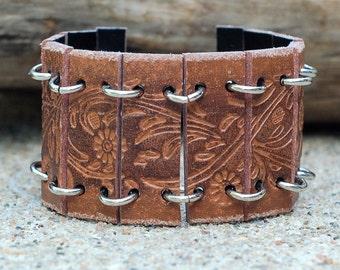 Flower Leather Belt Cuff Bracelet, Repurposed Leather Belt, Floral Leather Bracelet, Leather Cuff, Repurposed Leather Belt, Leather Bracelet