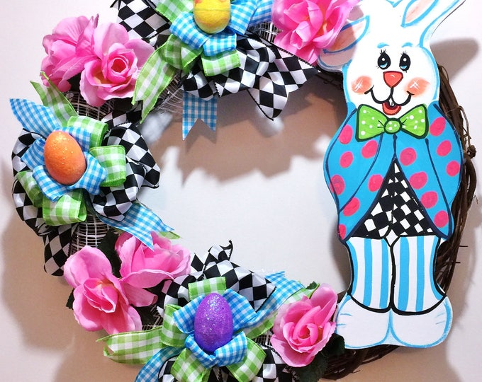 FREE SHIPPING Peter Rabbit Easter Bunny Eggs Floral - Welcome Door Grapevine Wreath