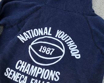 The Vintage 50/50 Navy Blue Youth Basketball Champions Seneca Falls NY 1987 Hooded Hoodie Sweatshirt