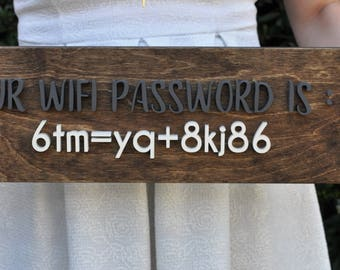 WiFi Password Wood Sign - 6 x 20 inches - 3D Wood Wall Art - B&B, Offices, Dimensional Wood Sign,