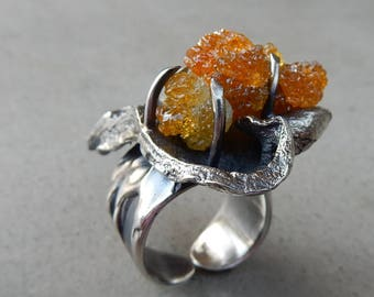 Fire Goddess of the Creative Powers, Mystical Heart Ring with Zincite, One of a Kind, Lower Chakras, Sterling, Manifesting, Kundalini Rising