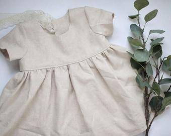 Short Sleeve Linen Tunic, Blouse, Natural  Beige Top, Toddler Shirt, Girls Linen Tunic, Baby Top, Linen Baby Clothes, Linen Girls Clothes