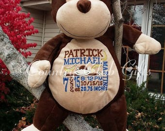 personalized baby gift, birth stat Monkey, stuffed Monkey, Birth Stat Gift, Baby Shower Gift, Baby Girl, baby boy, nursery decor, photo prop