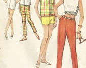 Vintage 60s Simplicity 4504 Teen Tunic Top, Crop Top, Shorts and Cigarette Pants Sewing Pattern Size 10 Bust 30