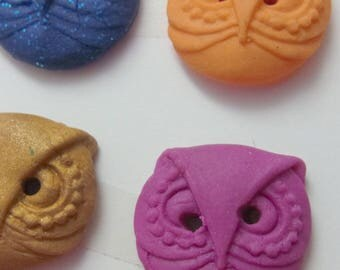 Little Owls polymer clay buttons, for children or young at heart.