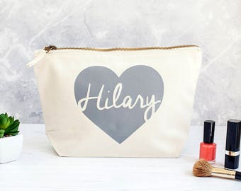 Personalised Heart Make Up Bag