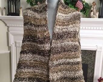 handmade crochet shawl wrap scarf afghan chunky bulky yarn HOT COCOA chocolate brown beige variegated soft stretchy warm new