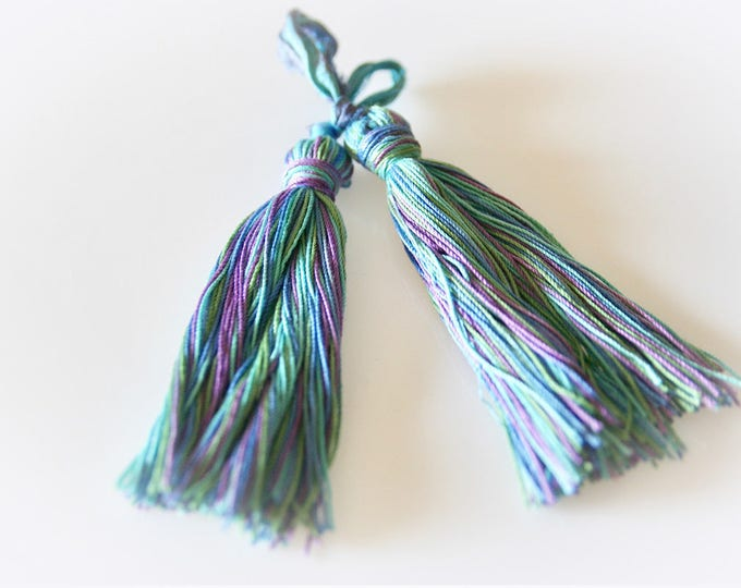 Pair of Bohemian Blue, Green and Purple Tassel. Cotton & Sari Silk. Jewelry Supply. Crafting Supply. Bohemian Blues.