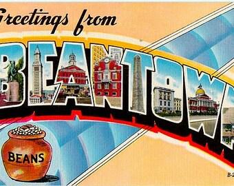 Vintage Boston Postcard - Greetings from Beantown (Unused)