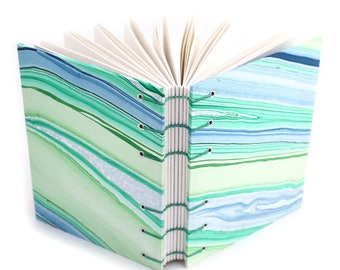 Green and Blue Agate Journal #1 -  Handmade book with Marbled paper covers made by Ruth Bleakley