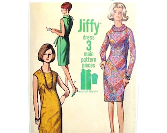 1960s Jiffy Dress Sewing Pattern Simplicity 6437 Tie Collar Dress Womens Bust 32 Vintage Pattern