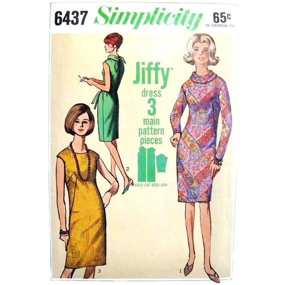 1960s Jiffy Dress Sewing Pattern Simplicity 6437 Tie Collar Dress Womens Bust 32