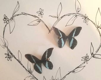 "Light Blue ""Stripe"" Silk Butterfly Hairclips"