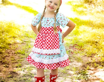 Girls Cherry Picker Dress, red gingham dress, cherry dress, cherries, apron dress, vintage dress, girls peasant dress, by Melon Monkeys