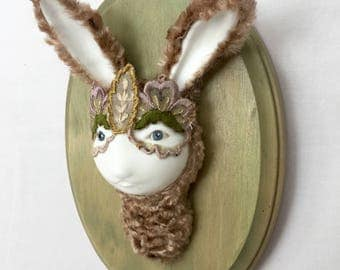 Mauve Rabbit Faux Taxidermy Wall Mounted  Pop Surrealism Collectible Figure Phylum Obscura