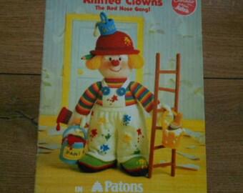 vintage 1992 knitting patterns Jean Greenhowe CLOWNS Red Nose Gang toy children