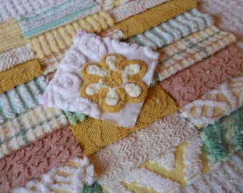 """Chenille Fabric Quilt Squares-25-6""""- Pretty Earth Tones with Daisy Flower-"""