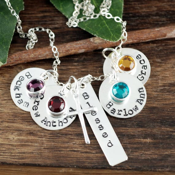 Personalized Mom Necklace, Kids Name Necklace, Stocking Stuffer, Christmas Gift for Her, Birthstone Necklace, Gift for Mom, Gift for WIfe