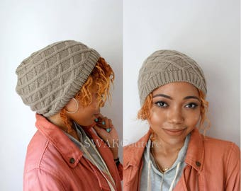 Diamond Knit Beanie Cap, Satin Lined Beanie (or No Lining - Taupe or Choose Your Color