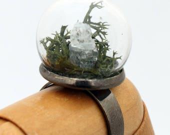 Raw calcite spar crystal terrarium ring - glass globe dome ring- reindeer moss - crystal healing - gemstone ring adjustable gunmetal