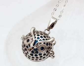 Angel caller Cute Owl locket with choice of coloured chime ball- harmony bell- pregnancy necklace- Mexican Bola necklace- Silver plated