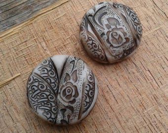 Ivory Vintage Lace - Climbing Rose Focal Bead - free-form patterned focal bead (ready to ship)