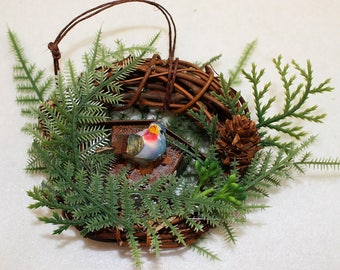 Blue Bird and Rustic Birdhouse Christmas Ornament 203
