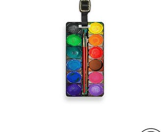 Luggage Tag Paintset Luggage Tag Watercolor Paint set Metal Luggage Tag Custom Info On Back Single Tag