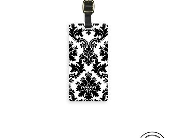 Luggage Tag Black and White Damask Personalized backs Printed with Address Message or Quote Printed Metal Tag Single Tag