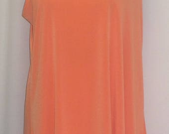 Coco and Juan, Lagenlook, Plus Size Tunic, Plus Size Tank, Orange, Traveler Knit Angled, Womens Tank, Size 1 Fits 1X,2X Bust 50 inches