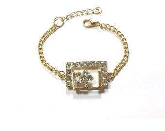 Gold Charm Bracelet  ,  Gold Plated Crystal Rhinestone  Bracelet