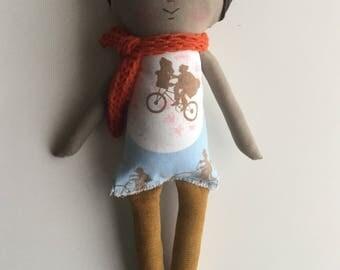 80s Rag Doll Cloth Doll Handmade Doll Vintage Fabric ET Extra Terrestrial