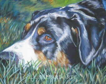 Greater Swiss Mountain DOG art PORTRAIT canvas PRINT of LAShepard painting 8x10""