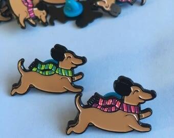 Dachshund Dog Enamel Pin, Sausage Dog Lapel Pin, Wiener Dog, Tie Pin, Cute Pin, Stocking Filler, Animal Pin, Gift for Her, Teen Gift