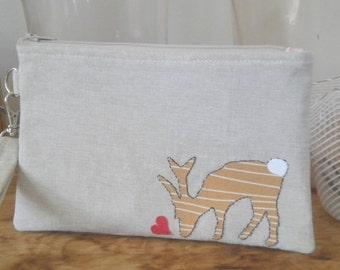 Deer Wristlet in Oatmeal Linen/Zipper Case with Handmade Deer Applique