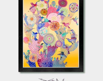 Mexican Folk Art. Coming Together. Cactus Art, Mexican Art, Arizona, Mexican Folk Art, Texas, Southwestern, Phoenix, Mexican, Cactus Print