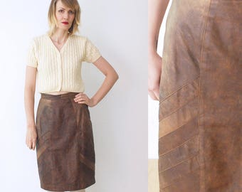 80s 90s leather pencil skirt. brown leather skirt. patchwork leather skirt - small, medium