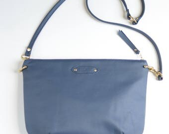 Nana mini leather dart bag: Cadet blue
