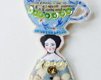 Beautiful Flat Lady Doll Ornament With A Large Teacup On Top Of Her Head Handmade Embellished Textile Art Doll Fabric Ornament