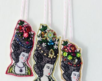 Marie Antionette French Lady Cloth Doll Hand Embellished Tags/Package Decor, Set of Three
