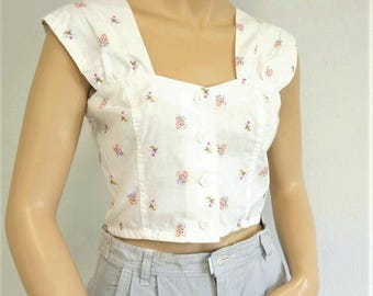Summer Crop Top 1970's 1980's Cotton Belly Midriff Shirt Floral Blouse Size Small Vintage White Women's Short Top Size 9