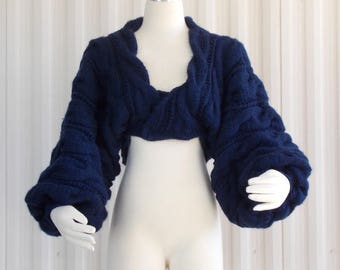 Hand Knit Shrug, Knitted Bolero, Chunky Knit Cardi, Many Colors Available, Plus sizes Available