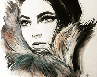 "Dolce Vita, original watercolor and gouache mixed media fashion illustration sized 15 x 20"" by Jessica Durrant"