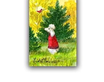 Poodle Dog Red Puppy Sweater Aumtun Evergreen Watercolor Nursery Child Original llmartin Free Shipping USA Mom, Grandma, Aunt