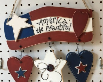 """America The Beautiful Wood Hanging Sign, handmade, handpainted, 10 1/2 """" L x 11 """" Wide, weighs 10.5oz. 1/2""""wood"""