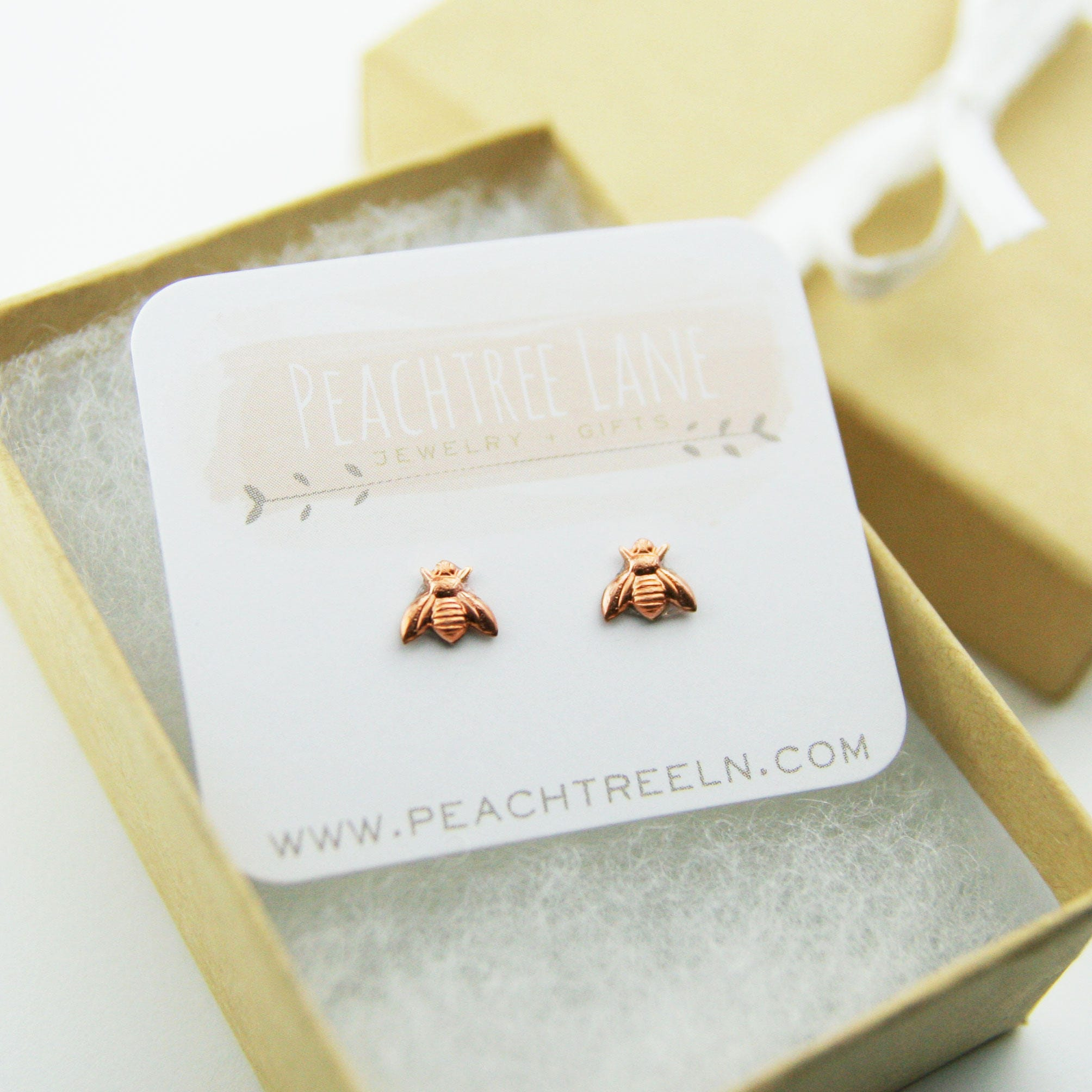 Tiny Copper Bee Earrings   Honeybee Rose Gold Post Earrings ...