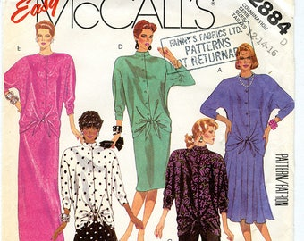 Vintage Mccalls 2884 Women's Top with Drop Waist, Dolman Sleeves and Tie Front, Skirt and Pants - UNCUT Sewing Pattern Sizes 12-14-16
