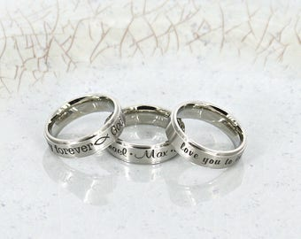 Personalized ring • Engraved mother ring • Bridal ring • Personalized mom ring • Mother Ring • Stainless Steel comfort custom name ring
