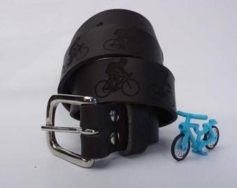 Engraved Cyclists Brown Leather Belt, belt, Gifts for Cyclists, Cycling Gifts, Bike Gifts, Gifts for Him, Gift for Men,Bike Belt, Men Gift