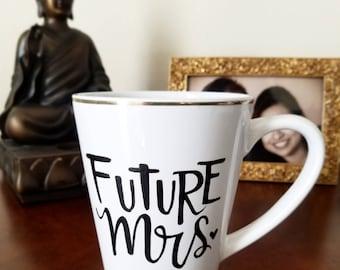 Handpainted Hand Lettered Ceramic Coffee Mug